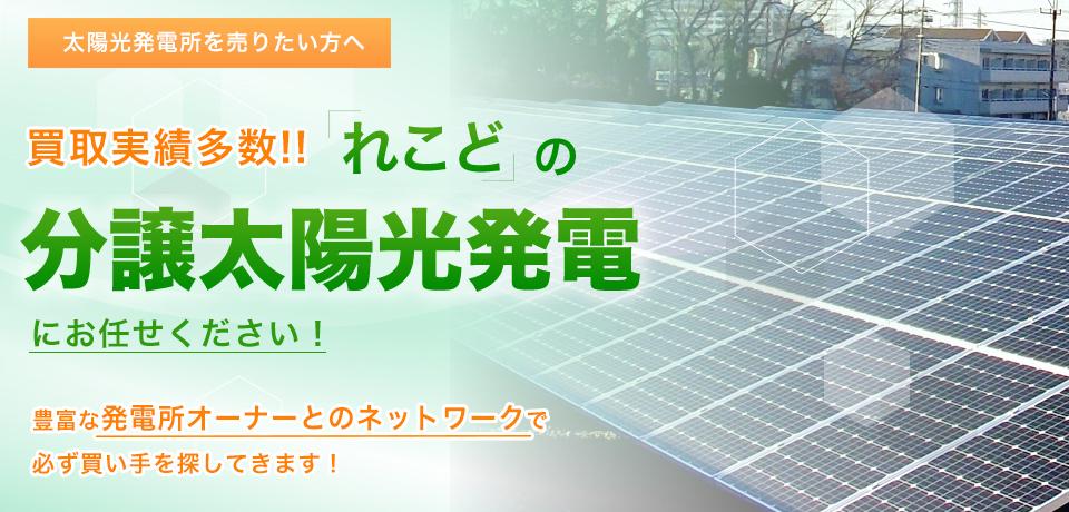 太陽光発電所を売りたい方へ、買取実績多数!れこどの分譲太陽光にお任せください。豊富な発電所オーナーとのネットワークで必ず買い手を探してきます!